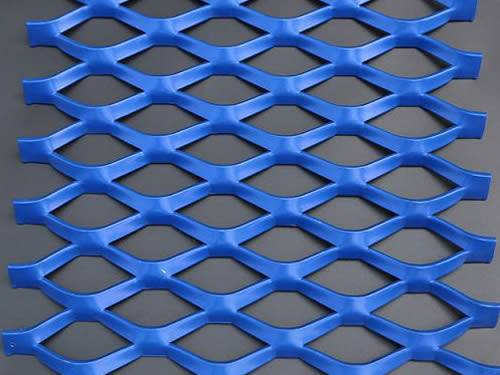 A piece of blue raised expanded metal mesh with power coated surface treatment and diamond holes.
