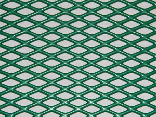 Green flattened expanded metal mesh details with PVC coated surface treatment and diamond holes.