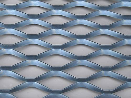 Sky-blue expanded metal mesh details with raised surface and diamond holes.